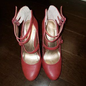 BCBG Red Strappy Wedges Size 6.5